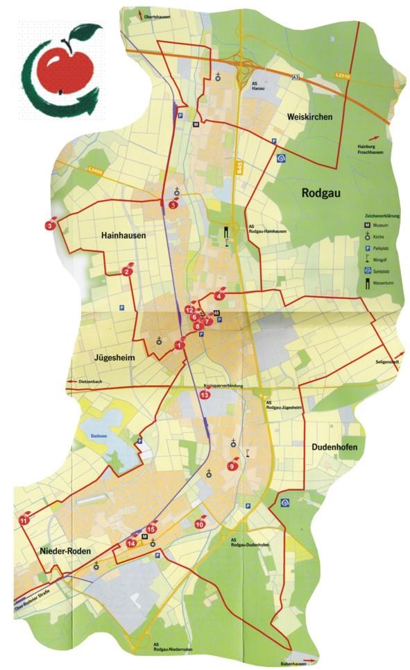 Karte Apfelweinroute
